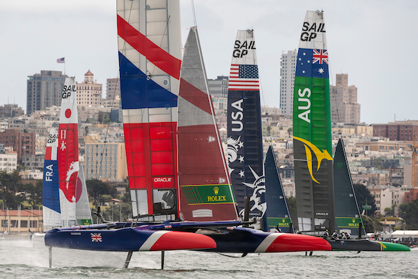 Team GBR helmed by Dylan Fletcher in the lead in race four. Race Day 2 Event 2 Season 1 SailGP event in San Francisco, California, United States. 05 May 2019. Photo: Chris Cameron for SailGP. Handout image supplied by SailGP
